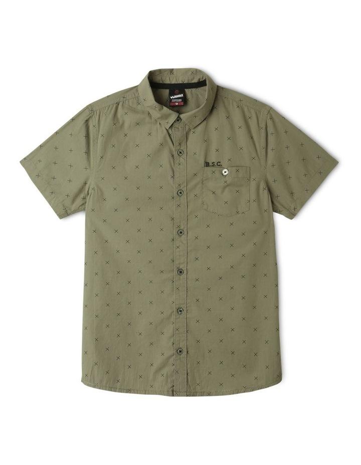 Poplin Short Sleeve Shirt Khaki image 1