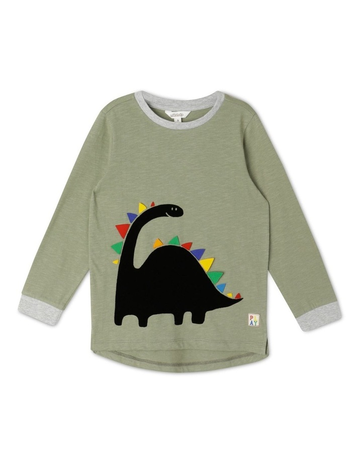 Flocked Dinosaur T-Shirt with 3D Applique image 1