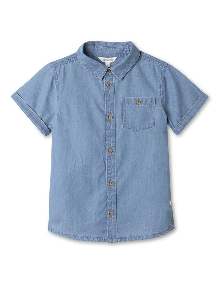 Button-Up Short Sleeve Shirt Denim image 1