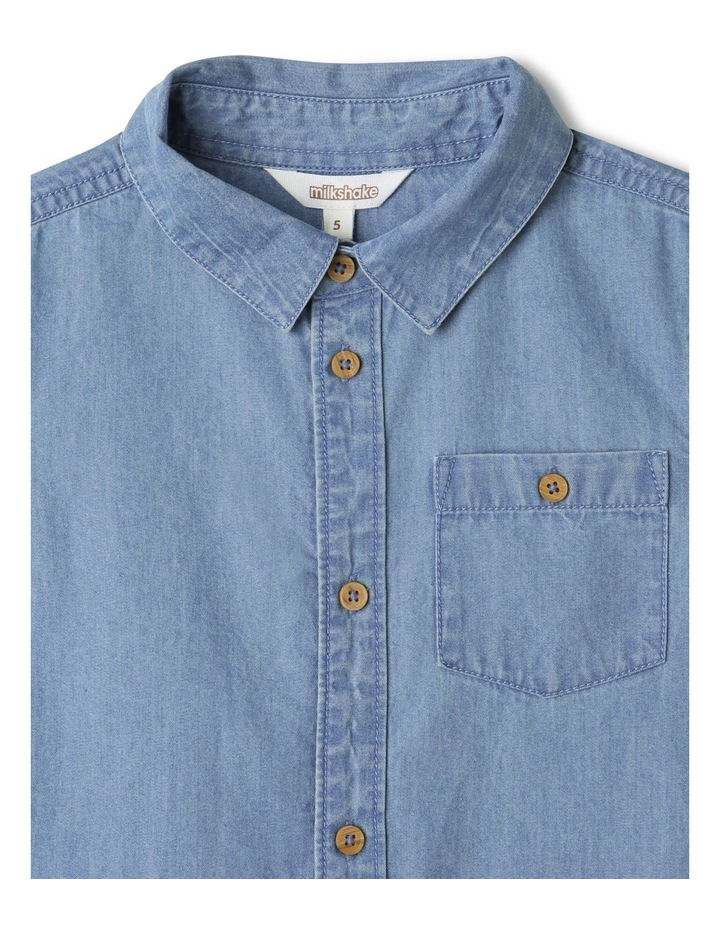 Button-Up Short Sleeve Shirt Denim image 2