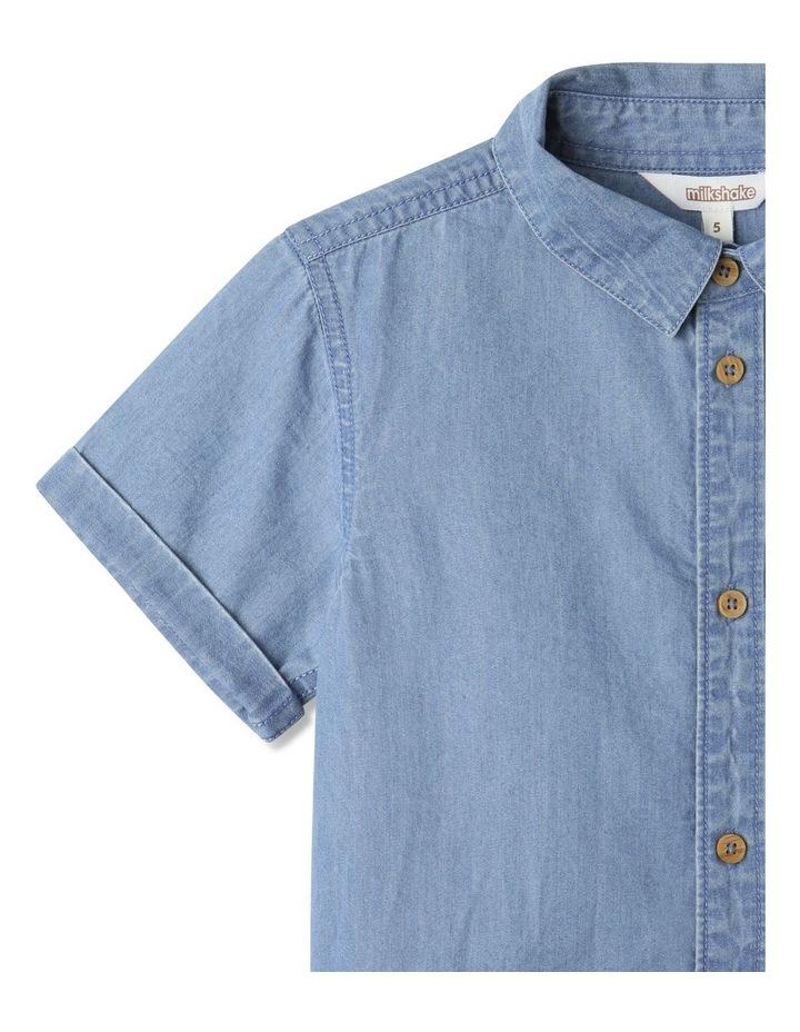 Button-Up Short Sleeve Shirt Denim image 3