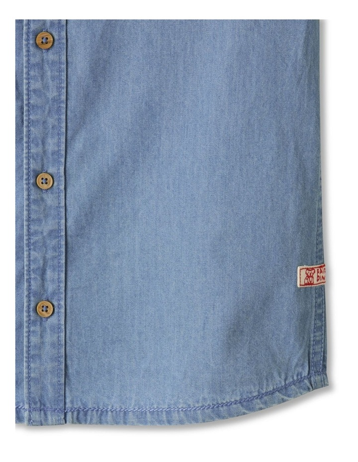 Button-Up Short Sleeve Shirt Denim image 4