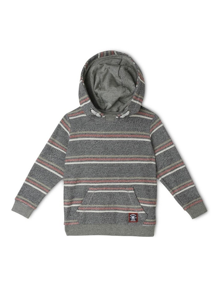 Hooded Stripe Sweat-Top with Reverse Fleece image 1