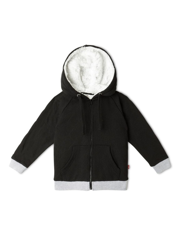 Quilted Sherpa Lined Zip Thru Sweat Top image 1
