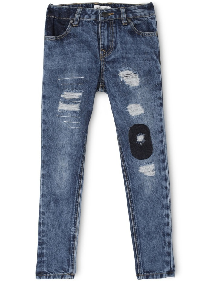 Distressed Patched Tapered Jean image 1