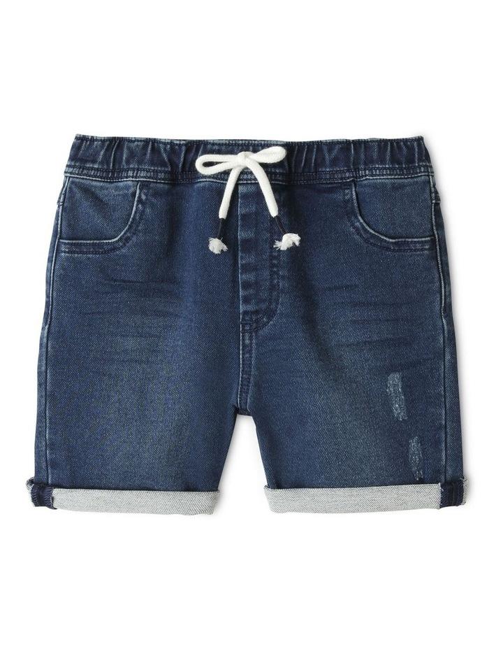 Knit Denim Shorts Indigo image 1