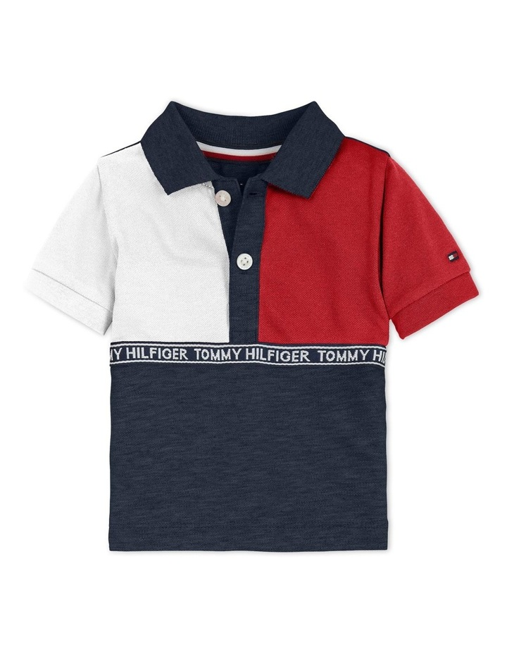 Colour-Blocked Logo Tape Polo Shirt Navy image 1