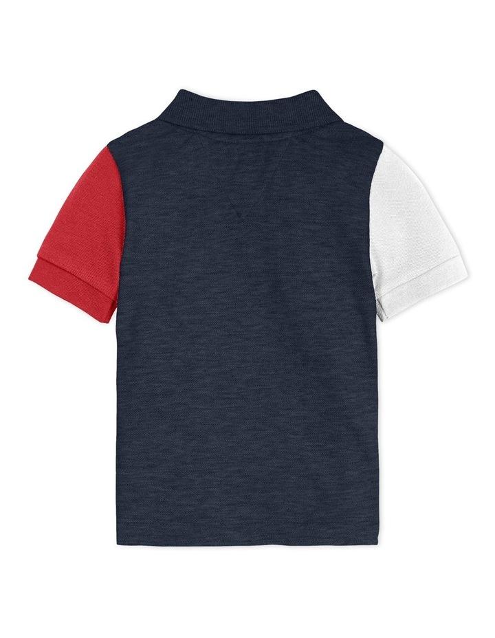 Colour-Blocked Logo Tape Polo Shirt Navy image 2