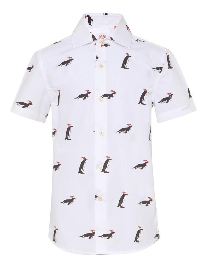 Boys Short Sleeve Christmas Penguins Shirt image 1