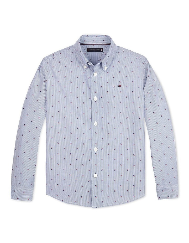 Micro Embroidery Cotton Shirt Blue image 1