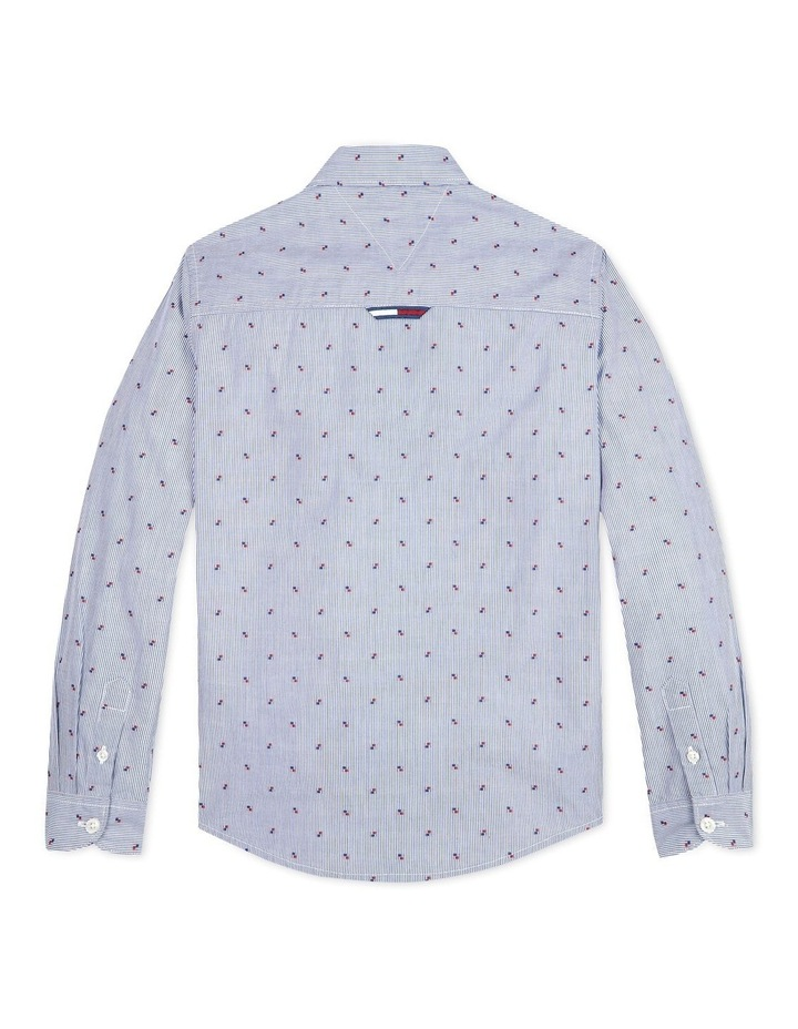 Micro Embroidery Cotton Shirt Blue image 2