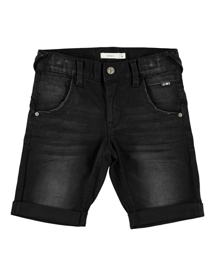 Black Denim Shorts image 1