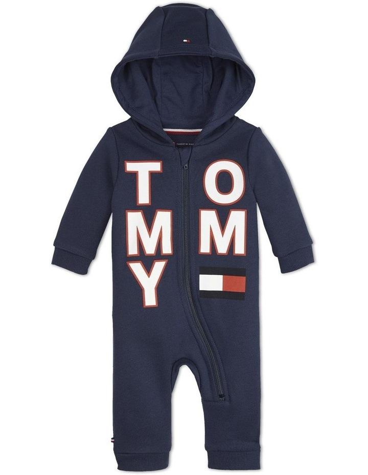Baby Asymmetric Zip Hooded Bodysuit image 1