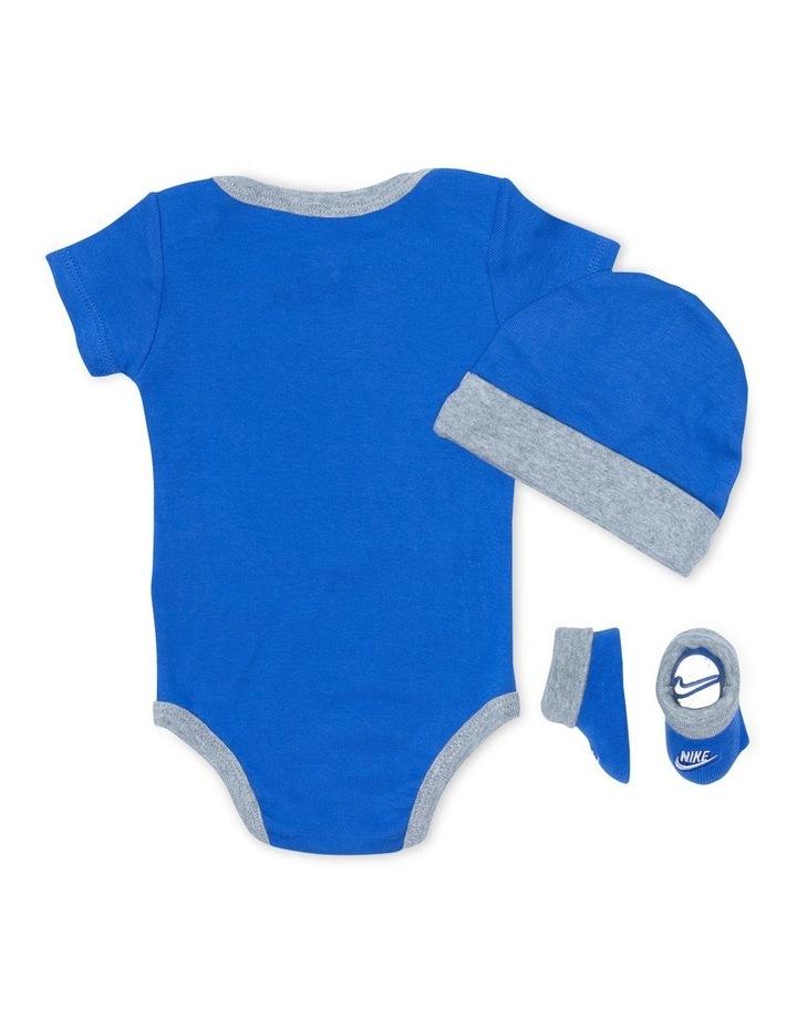 Futura Logo Hat/Bodysuit/Bootie 3 Piece Boxed Set Blue image 2