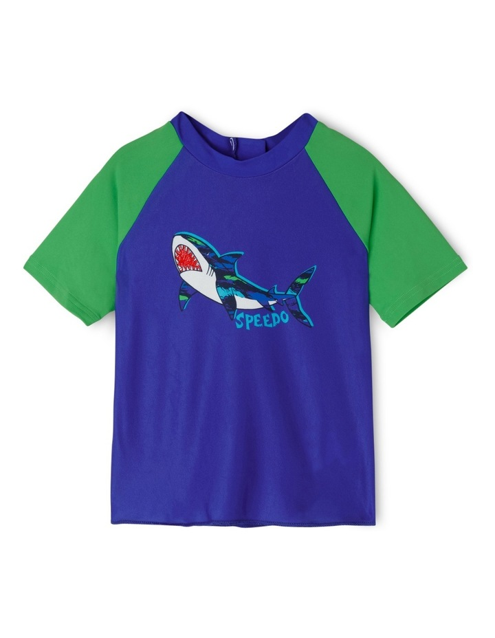 Toddler Boys Camo Shark Short Sleeve Suntop image 1