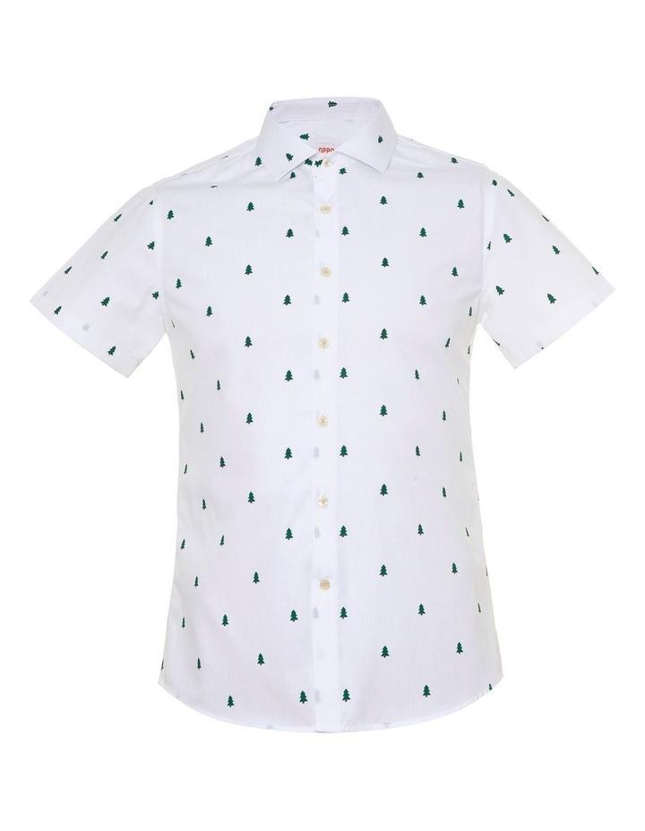 Teen Boys Short Sleeve Christmas Trees Shirt image 1