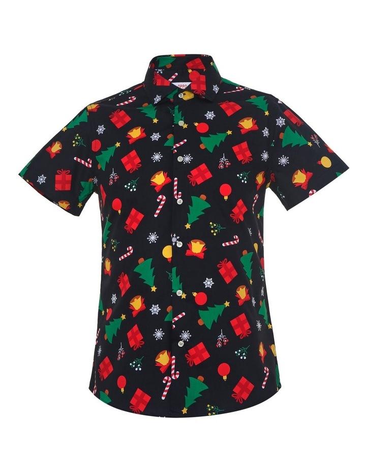 Teen Boys Short Sleeve Christmas Icons Shirt Black image 1