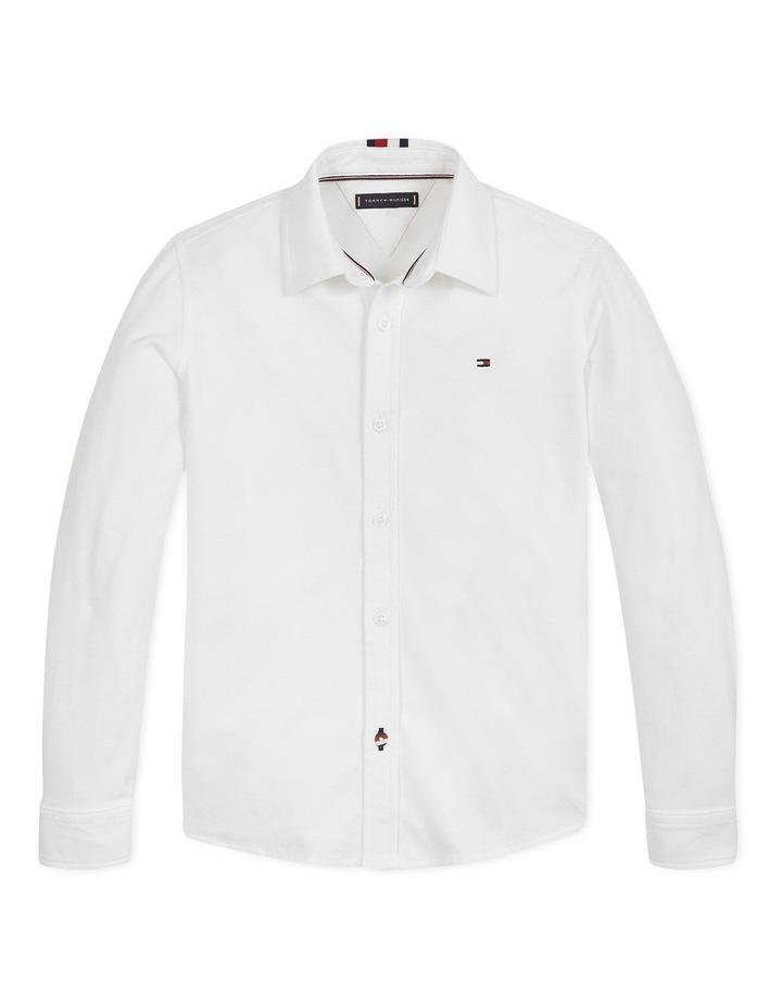 Boys Stretch Pique Shirt Long Sleeve image 1