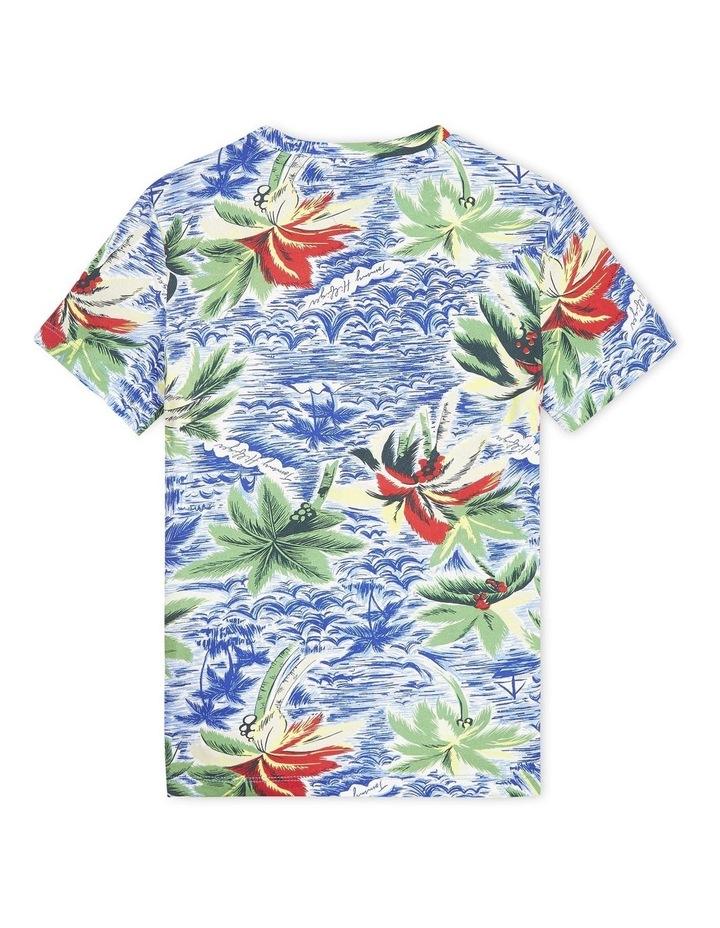 Tropical Print Crew Neck T-Shirt image 2