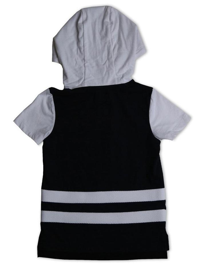 Double Stripe Short Sleeve Hoodie image 2