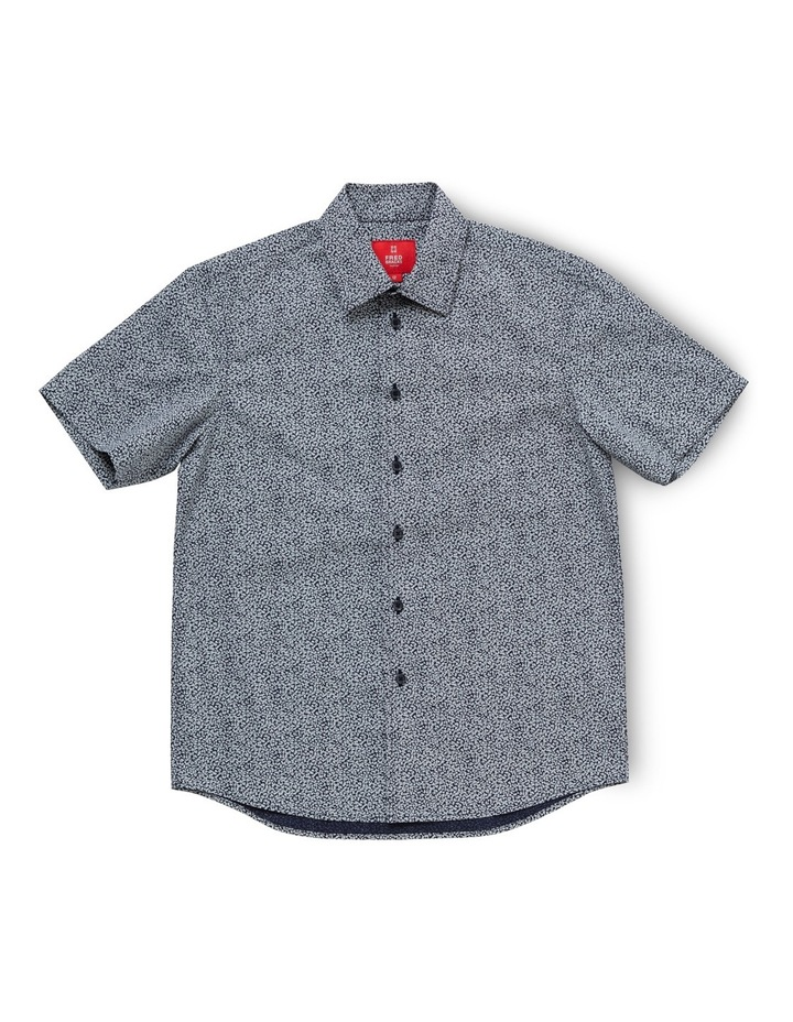 Navy with White Print SS Shirt image 1