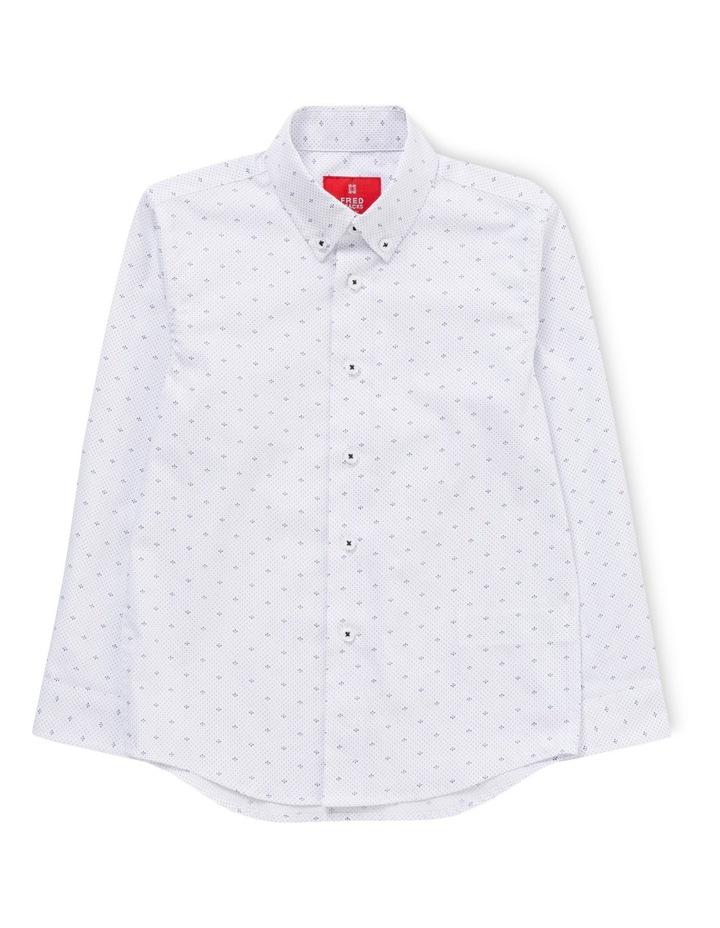 White Ground Navy Print LS Shirt image 1