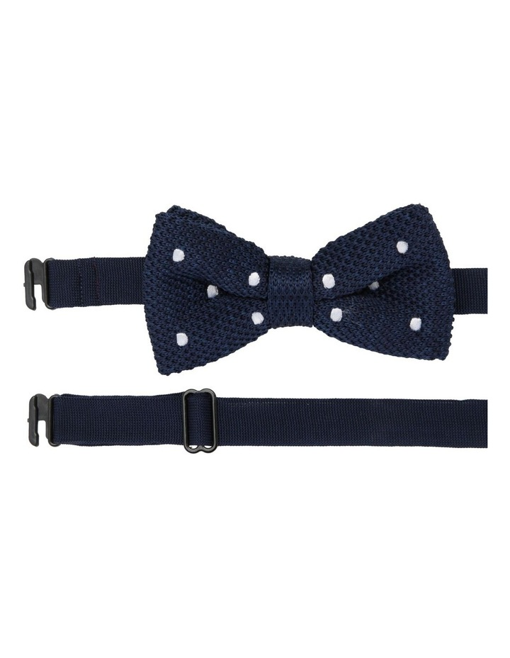Youth Knit Bow Tie Navy With Dots image 1