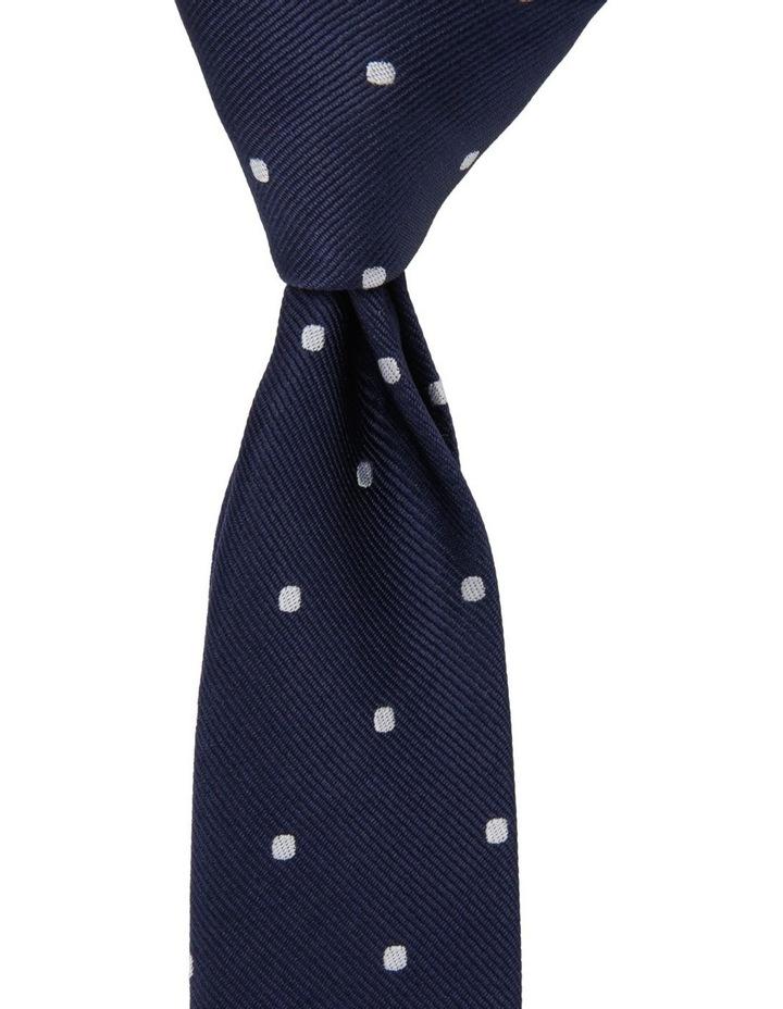 Junior Neck Tie Navy White Dots image 1