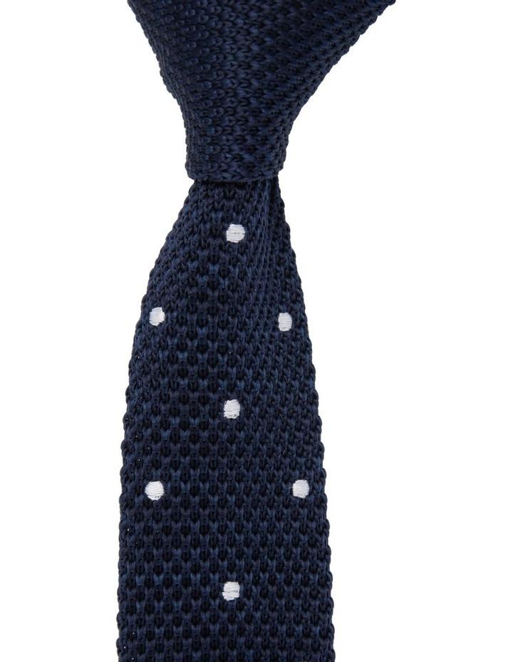 Youth Knit Neck Tie Navy White Spots image 1