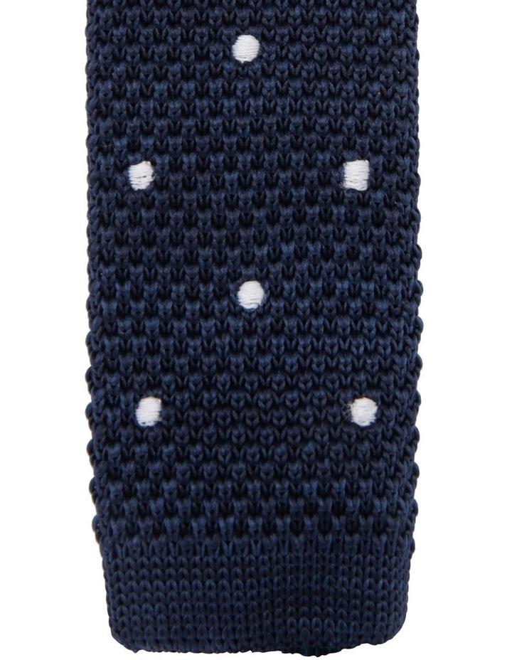 Youth Knit Neck Tie Navy White Spots image 2
