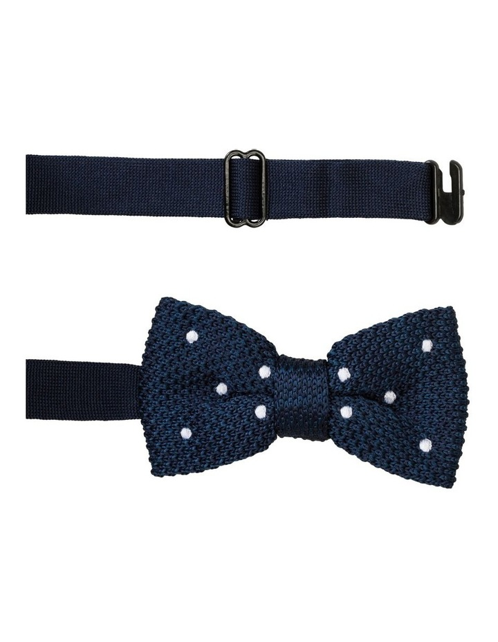 Knit Bow Tie Navy With Spots image 1
