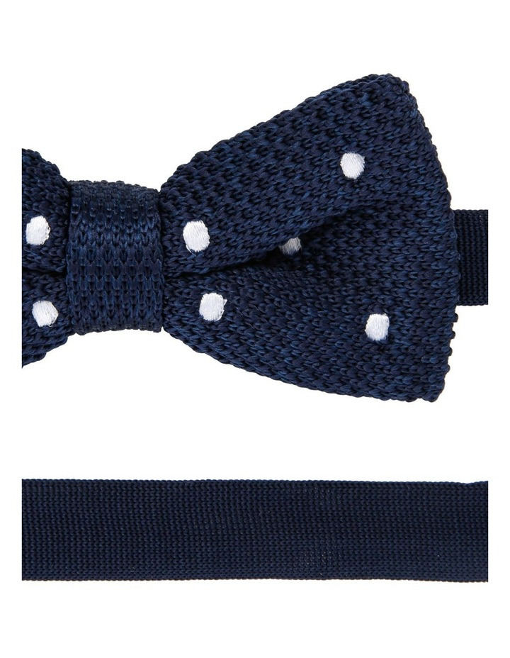 Knit Bow Tie Navy With Spots image 2