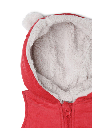 Jack & Milly - Buddy Woven Cord Hooded Vest With Teddy Fleece Lining