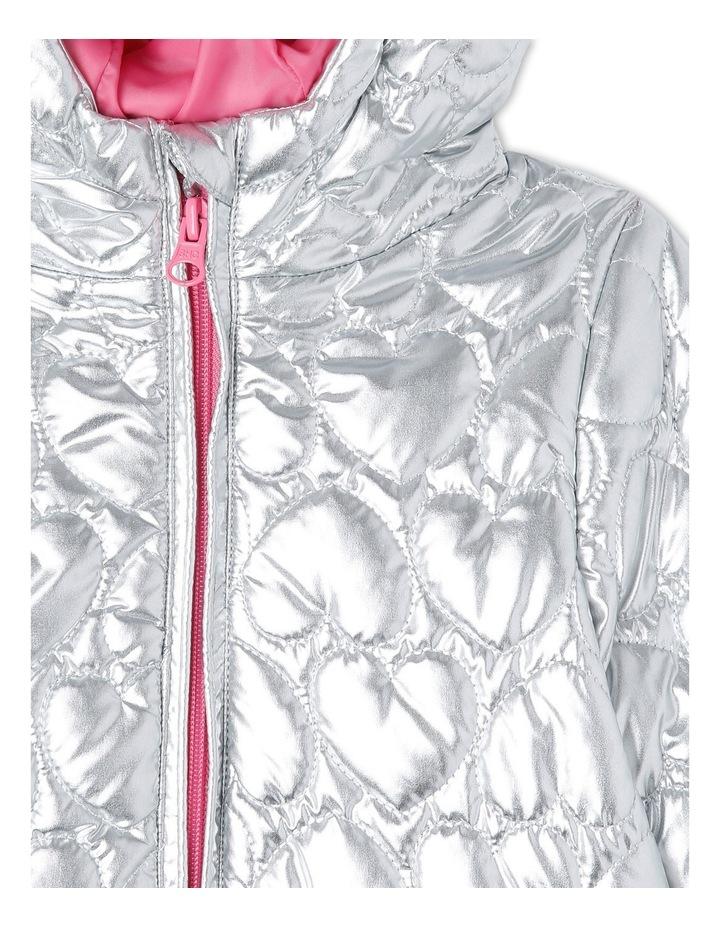 Skye Hooded Silver Puffer Jacket image 2