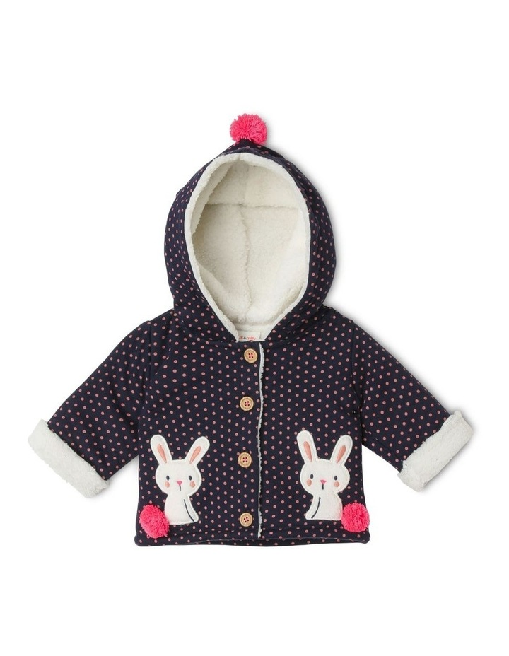 Mabel Knit Teddy Fleece Lined Jacket With Bunny Pockets image 1
