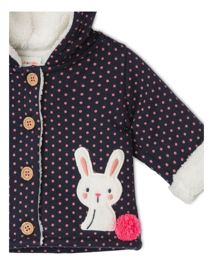 Mabel Knit Teddy Fleece Lined Jacket With Bunny Pockets image 2