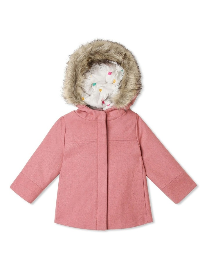Charlotte Melton Jacket with Fur Hood Trim image 1