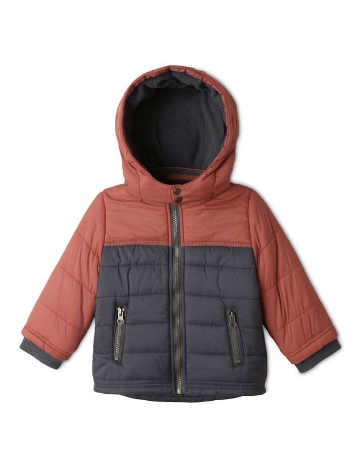 Ethan Charcoal Spliced Puffer Jacket image 1