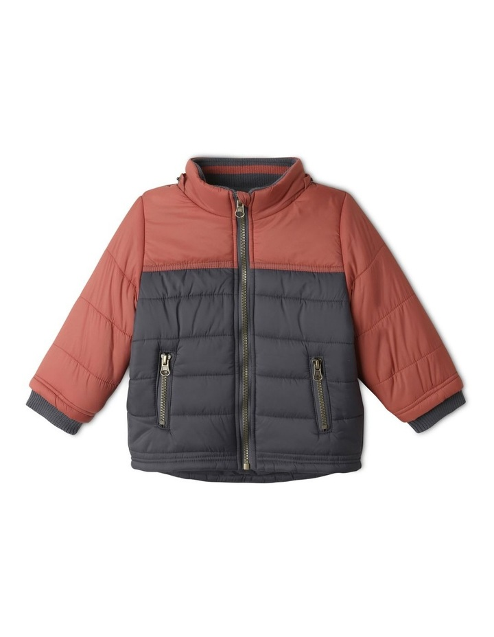 Ethan Charcoal Spliced Puffer Jacket image 2