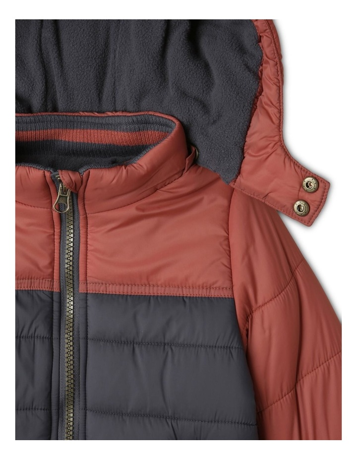 Ethan Charcoal Spliced Puffer Jacket image 4