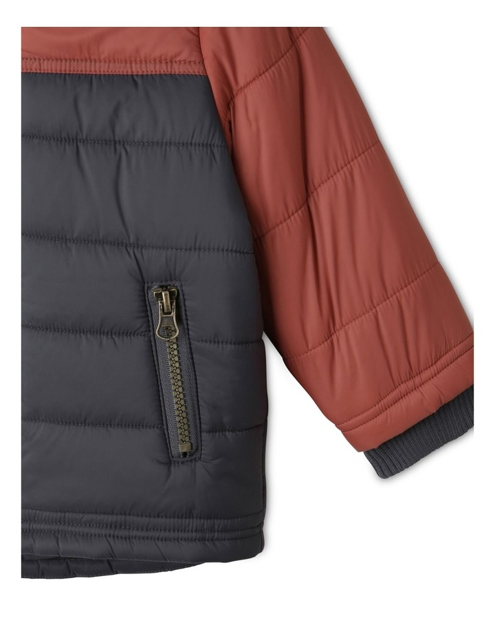 Ethan Charcoal Spliced Puffer Jacket image 7