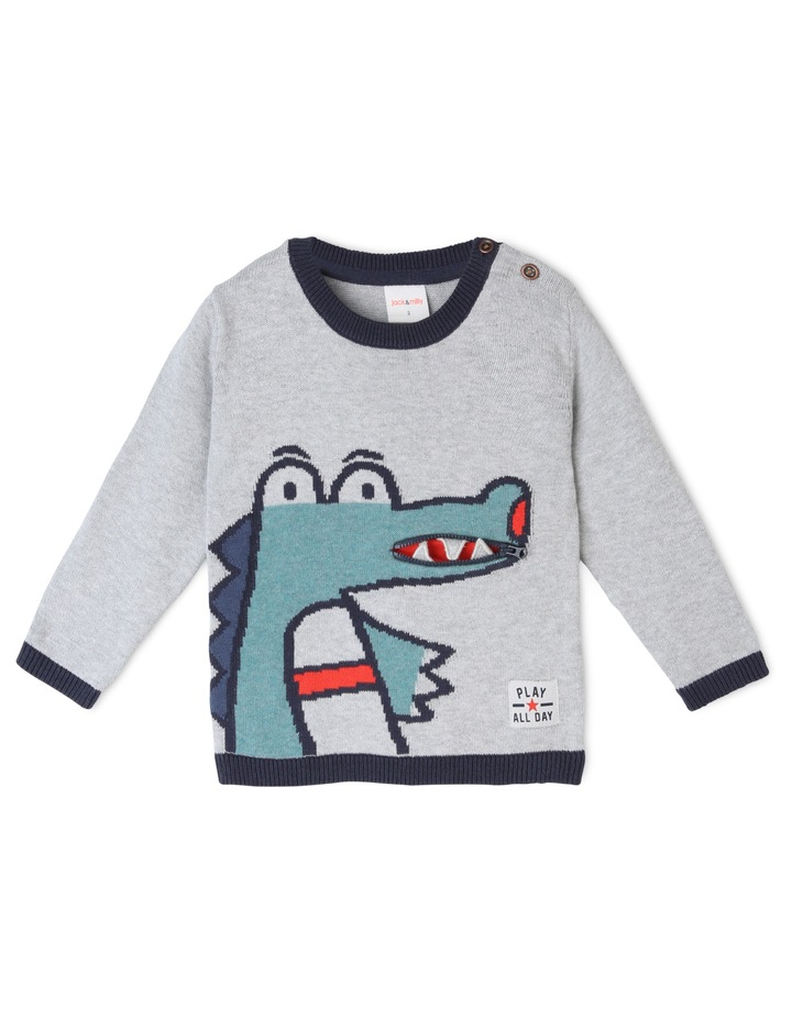 Vincent Intarsia Knitted Jumper with Zip Mouth image 1
