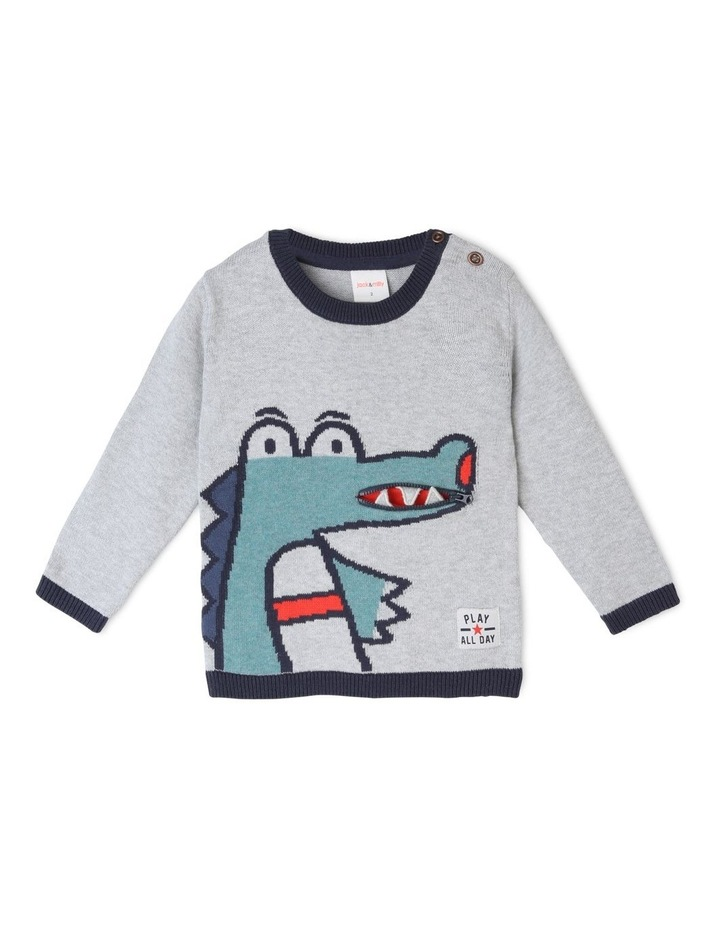 Vincent Intarsia Knitted Jumper with Zip Mouth image 2