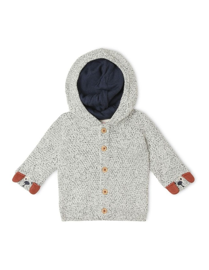 Teddy Novelty Cardigan with 3D Puppy Face Detail image 1