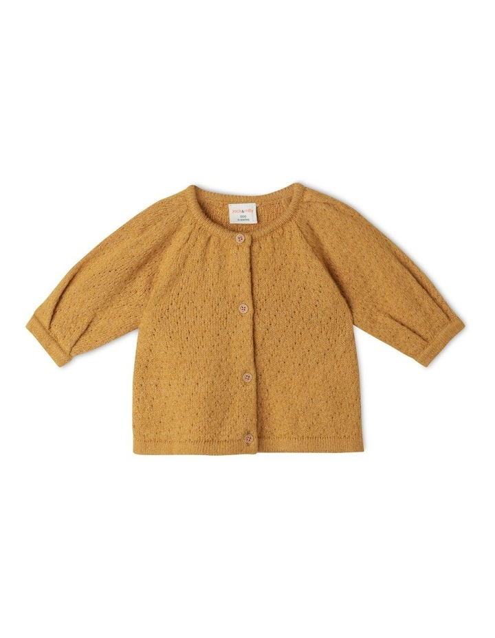 Ava Long Sleeve Knitted Pointelle Cardigan image 1