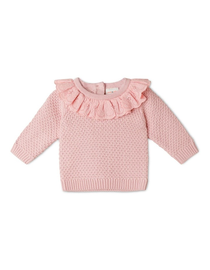 Gigi Knitted Jumper With Woven Brodier Frill image 1