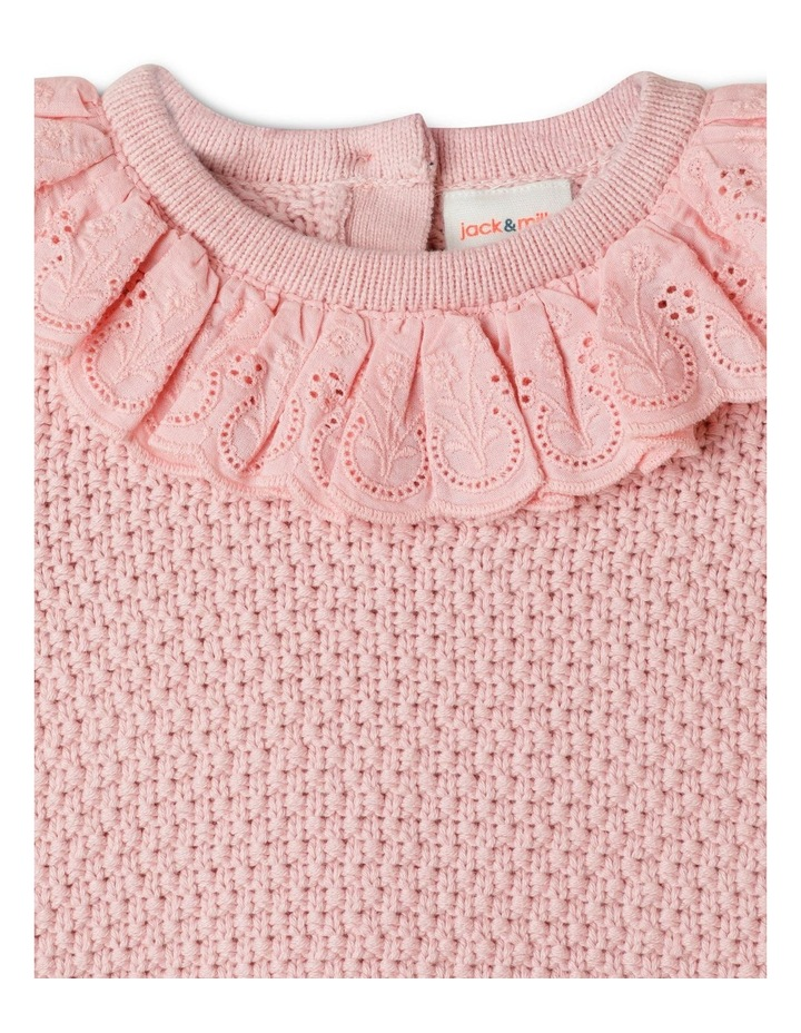 Gigi Knitted Jumper With Woven Brodier Frill image 2