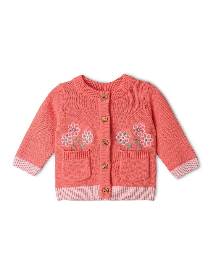 Issy Knit Organic Cotton Cardigan Coral image 1