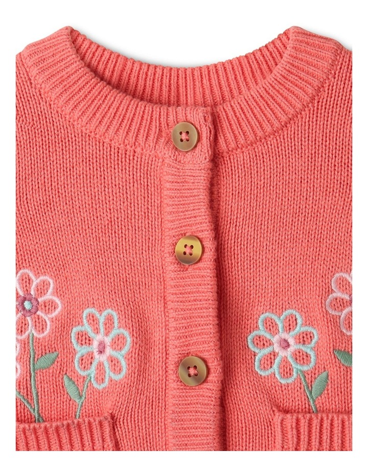 Issy Knit Organic Cotton Cardigan Coral image 2