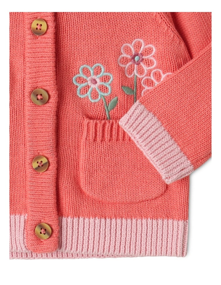 Issy Knit Organic Cotton Cardigan Coral image 4